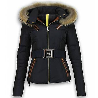 Winter jackets-Ladies winter coat short-leather piece 4 pockets with belt-Navy/Black
