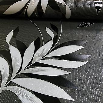 A.S. skapelse som skapelse Blom lövmönster tapet präglad glitter stripe motiv 325223