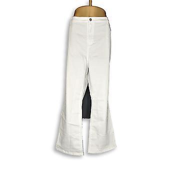 Susan Graver Frauen's Petite Jeans Stretch Twill fliegen vorne weiß A298506