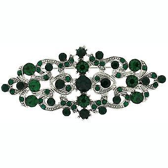Smaragd grünen Swarovski-Kristall Broschen Store & Antik Silber Victorian Brosche