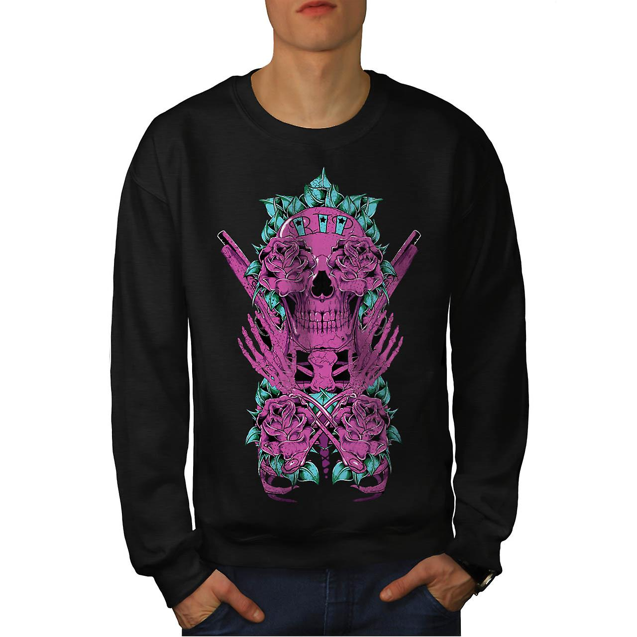 Deadman Rose Gun Skull Men Black Sweatshirt | Wellcoda