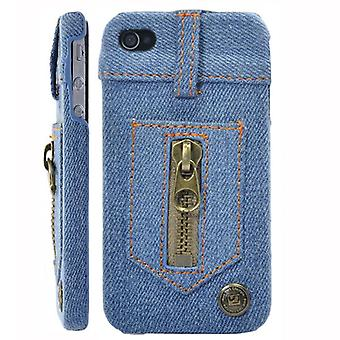 Leather covered with Denim (Jeans)-iPhone 4/4S
