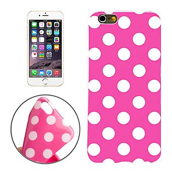 TPU back cover sleeve dotted for phone Apple iPhone 6 Pink / White