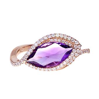 14k Rose Gold Sideways Amethyst and Diamond Ring