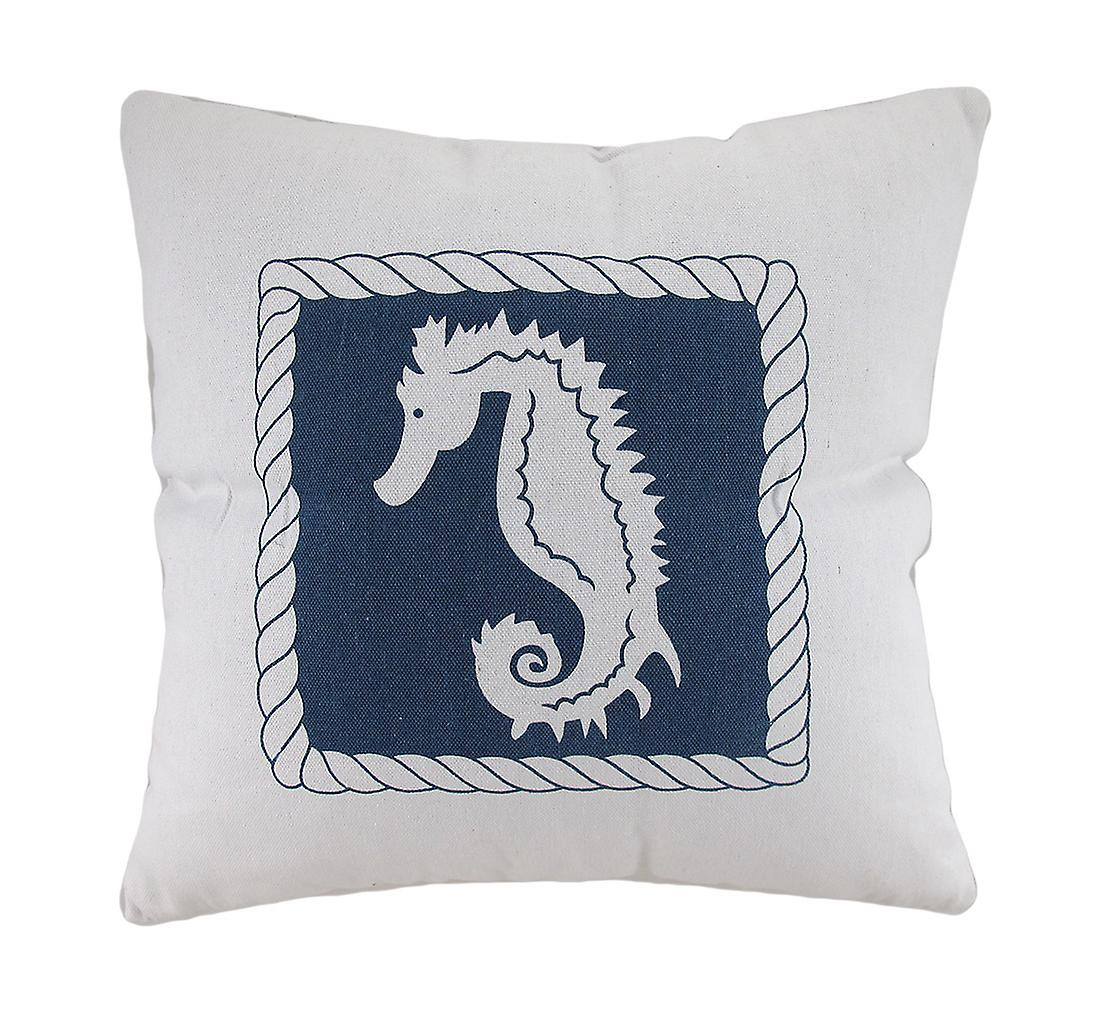 Blue Decorative Seahorse Canvas White And Throw Pillow dhQrCstx