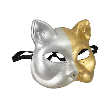 Gold and Silver Finish Half Face Carnivale Gatto Cat Mask