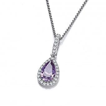 Cavendish French Ornate Silver and Amethyst CZ Teardrop Pendant