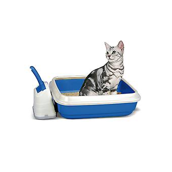 Duo Cat Litter Tray With Scoop & Holder Blue 50x40x14.5cm