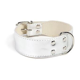 Doggy Things Plain Leather Dog Collar Silver 60cm