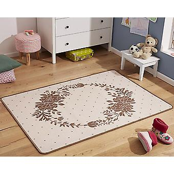 Design kids carpet flower wreath Brown 100 x 140 cm