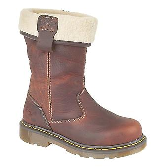 Dr Martens Dm Rosa sicurezza Ladies calzature Pull su stivali Casual donna in pelle