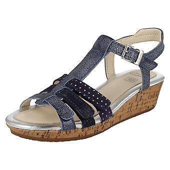 Girls Clarks T-Bar Wedge Summer Sandals Harpy Jen