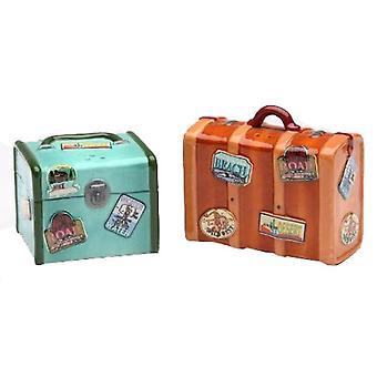 Road Trip Retro Look række bagage Salt og peber Shakers sæt