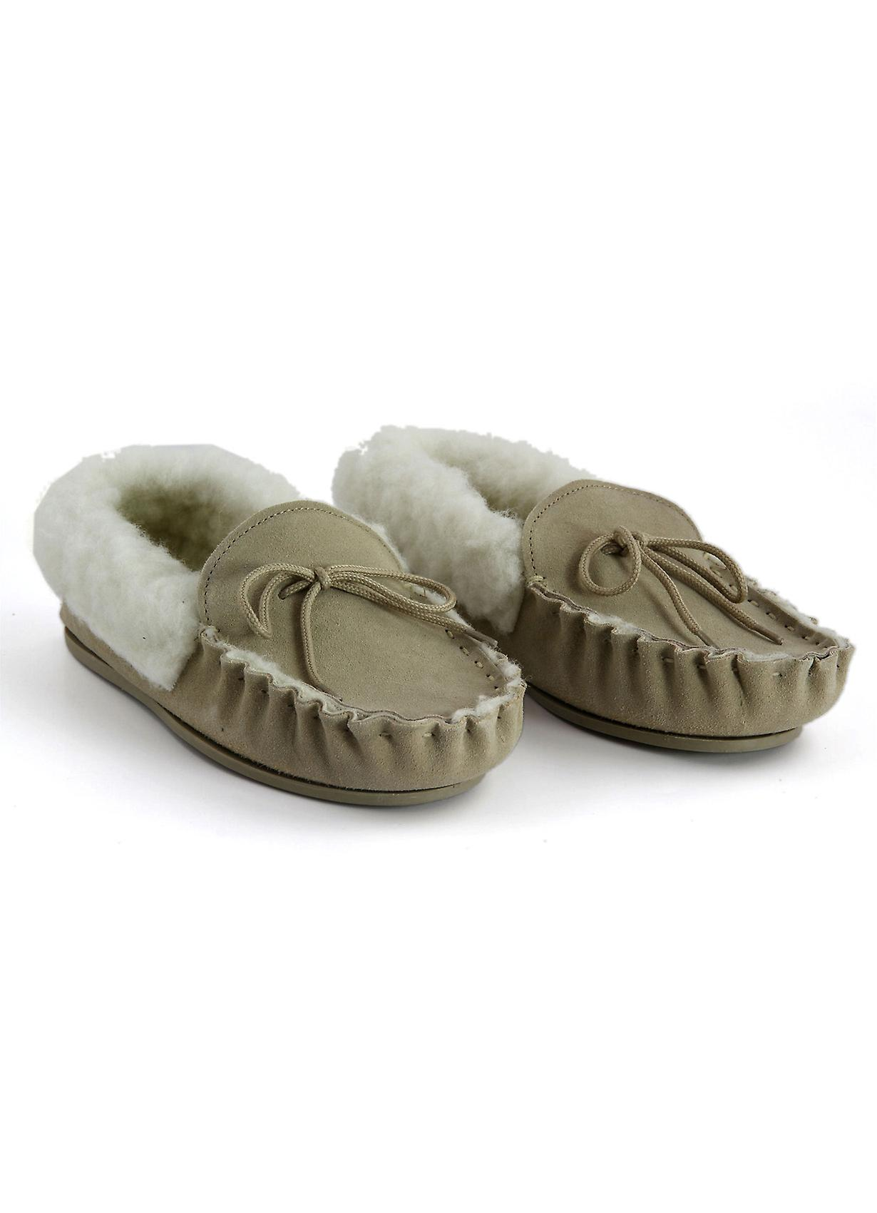 Women's Wool Lined Suede Moccasin Slippers with collar in Natural