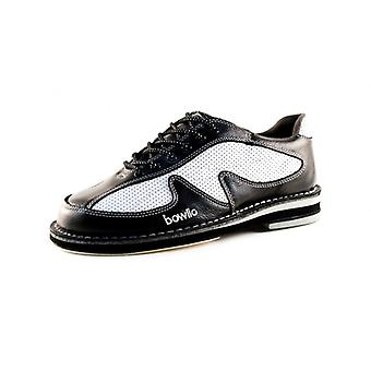 Bowlio Pro series storm - leather Bowling shoes for men and women in black and white