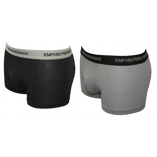 Emporio Armani 2-Pack Stretch Cotton Boxer Trunks, Grey/Black