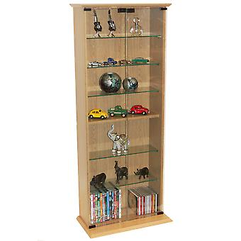 Boston - 116 Dvd/ 316 Cd Book Storage Shelves Glass / Collectable Display Cabinet - Beech