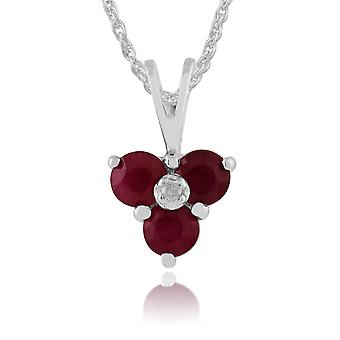 9ct White Gold 0.43ct Ruby & Diamond Cluster Pendant on Chain
