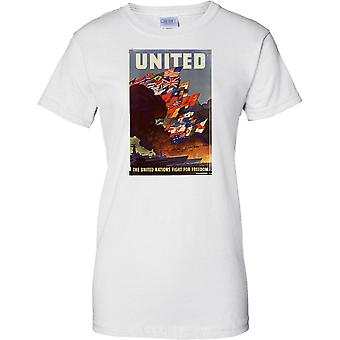 WW2 US Military Propoganda Poster - United Nations - Ladies T Shirt