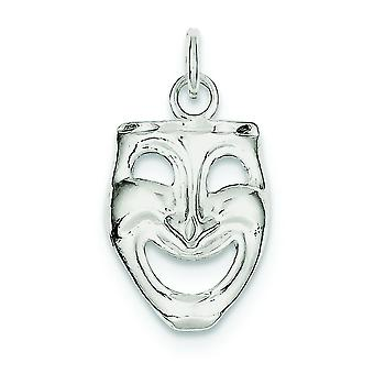 Sterling Silver Solid Polished Open back Comedy Mask Charm - 1.8 Grams