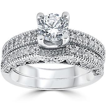 1 1/10ct Vintage Pave Diamond Engagement Wedding Ring Set 14K White Gold