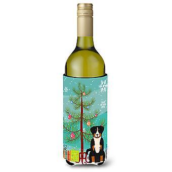 Merry Christmas Tree Appenzeller Sennenhund Wine Bottle Beverge Insulator Hugger