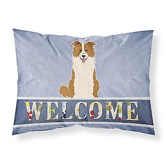 Border Collie Red White Welcome Fabric Standard Pillowcase