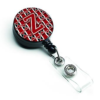 Letter Z Football Red, Black and White Retractable Badge Reel