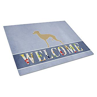 Italian Greyhound Welcome Glass Cutting Board Large