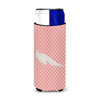 White Peacock Peafowl Pink Check Michelob Ultra Hugger for slim cans