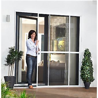 Double sliding door fly screen door Kit insect protection 230 x 240 cm in white