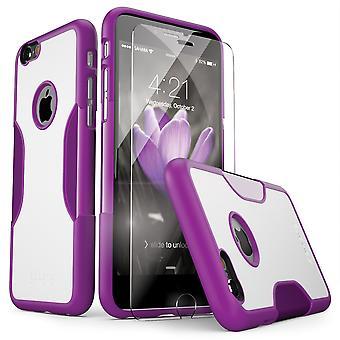 SaharaCase® iPhone 6/6s caso púrpura Saffon, clásico paquete Kit de protección con vidrio templado de ZeroDamage®