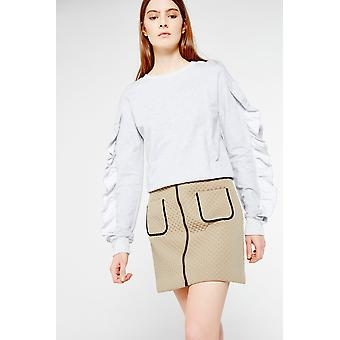 Cubic Zip Front Mini Skirt