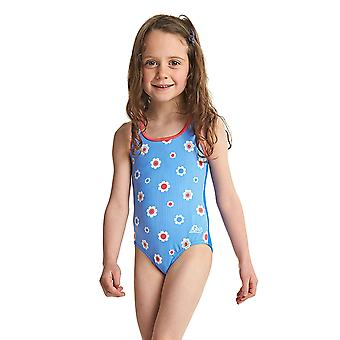 Zoggs Girls Holiday Actionback Swimsuit in Blue/Multi Colour mit Thick Straps-Chlore-Proof