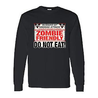 Men's/Unisex Funny Zombie Friendly, Do Not Eat!  Long Sleeve T-shirt