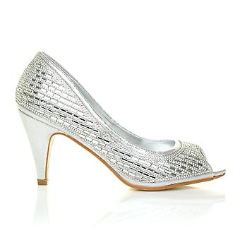 STAR Silver Shimmer Diamante Peep Toe High Heel Embellished Wedding Court Shoes