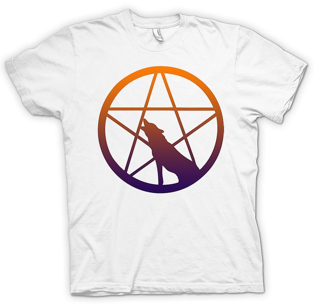 Femmes T-shirt - Loup hurlant Pentagram