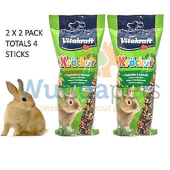 VITAKRAFT RABBIT STICK VEG & BEETROOT CAGE HUTCH TREAT 2X2 PK