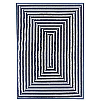 Outdoor carpet for Terrace / balcony blue white vitaminic braid Navy 133 / 190 cm carpet indoor / outdoor - for indoors and outdoors