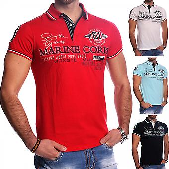Mens Short Sleeve Poloshirt T-Shirt Polo Shirt Sporty Casual embroidery stretch