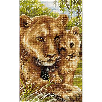 Lioness With Cub Counted Cross Stitch Kit-8.75