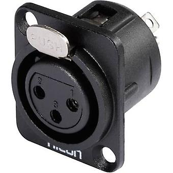 Hicon HI-X3DF-M XLR connector Sleeve socket, straight pins Number of pins: 3 Black 1 pc(s)