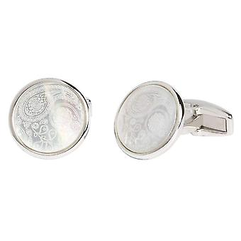 Simon Carter Mother of Pearl Paisley Cufflinks - Silver/White