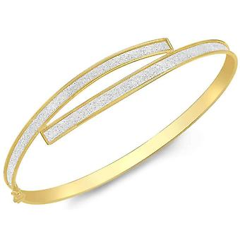 IBB London Curve Over Bangle - Yellow Gold/Silver