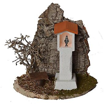 Madonna way Madonna wayside cross with Bank and Cork rocks with lights for Christmas Nativity crib accessories