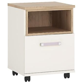Furniture To Go 4 Kids White Wooden Cabinet with Wheels – 1 Door Inset Oak