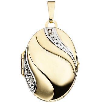 Медальон овальный кулон 333 золото желтое золото частично родиевым покрытием частично матовое 2 золота кубического циркония Medaillon