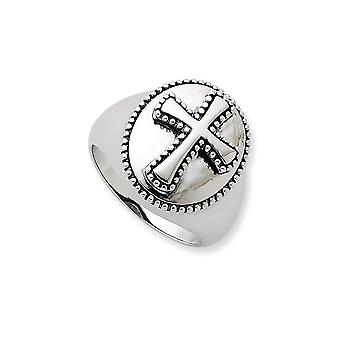 Sterling Silver Polished Gift Boxed Rhodium-plated Antique finish Antiqued Boldness Ring - Ring Size: 9 to 11