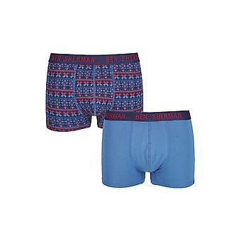 Ben Sherman ondergoed mannen 2 Pack Boxer Trunk Shorts rood Fairisle Print Yule