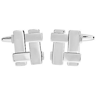 David Van Hagen Shiny Cut Out Woven Square Cufflinks - Silver